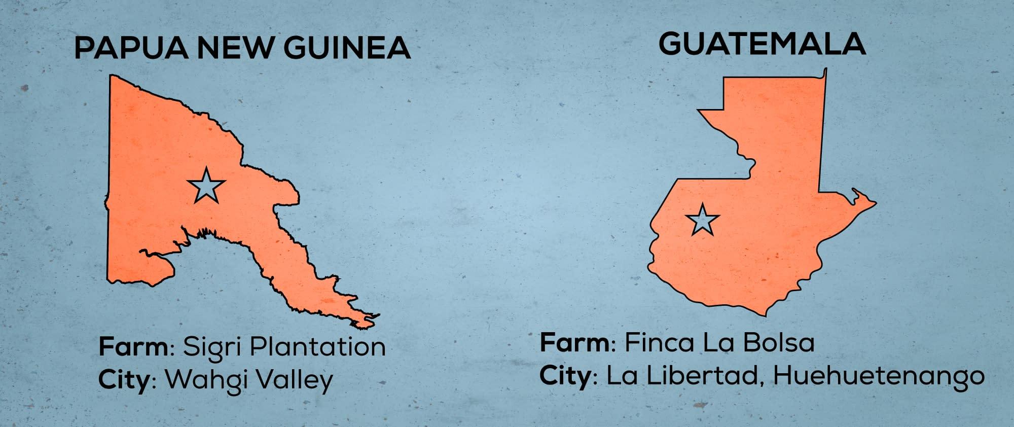 Map of Papua New Guinea & Guatemala