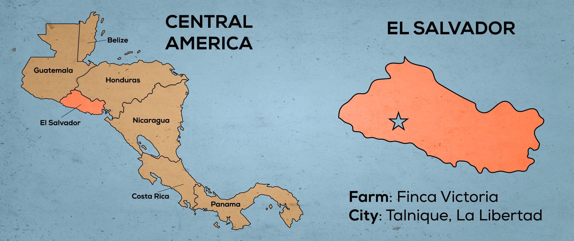 Map of Central America & El Salvador